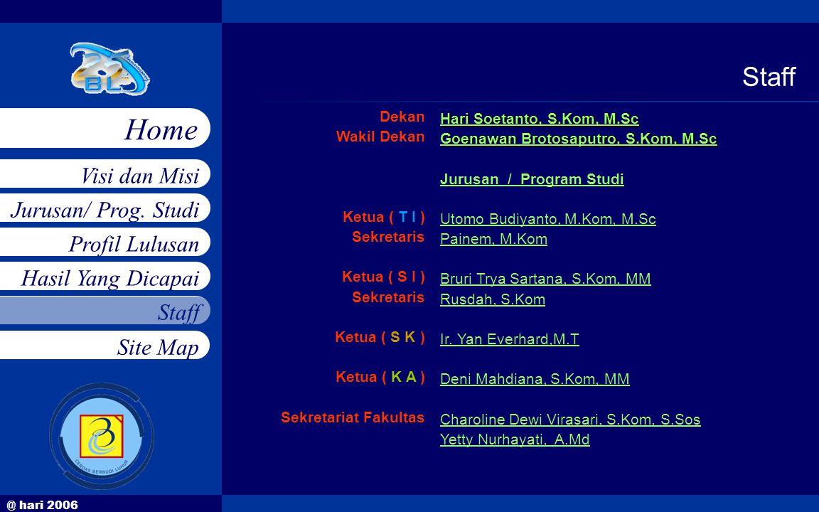 @ hari 2006 Jurusan/ Prog. Studi Profil Lulusan Hasil Yang Dicapai Staff Visi dan Misi Home Site Map Dekan Wakil Dekan Ketua ( T I ) Sekretaris Ketua