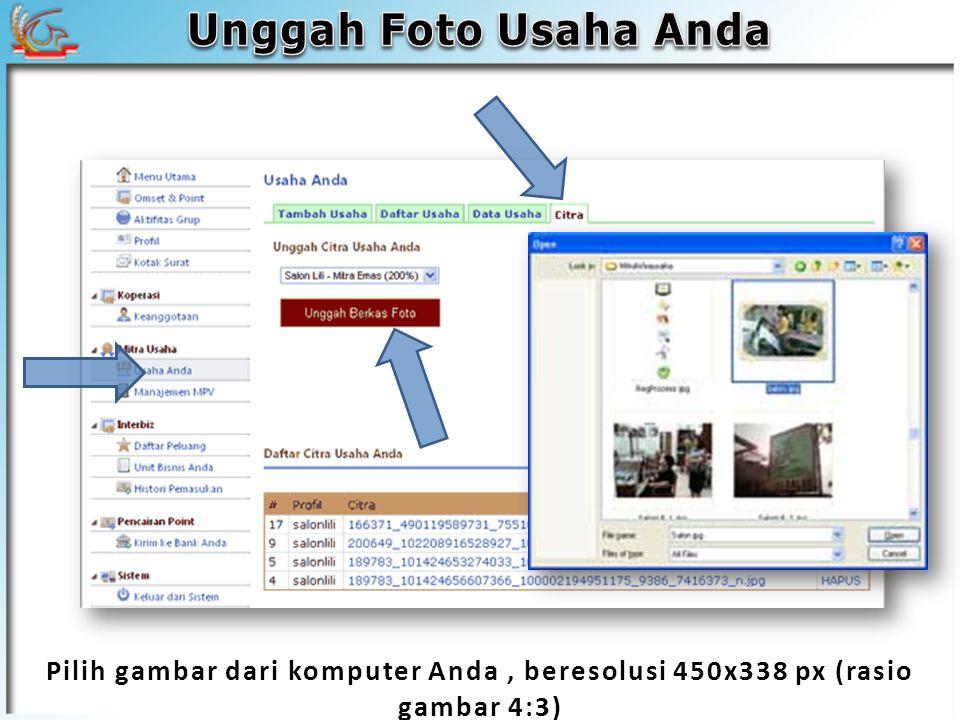 Pilih gambar dari komputer Anda, beresolusi 450x338 px (rasio gambar 4:3)