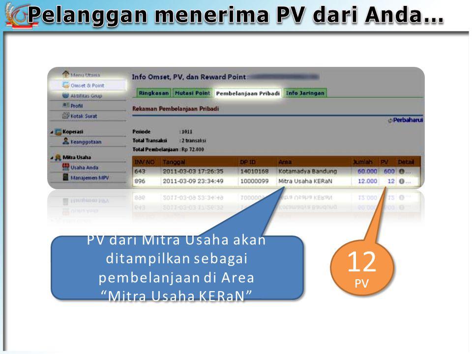 PV dari Mitra Usaha akan ditampilkan sebagai pembelanjaan di Area Mitra Usaha KERaN 12 PV