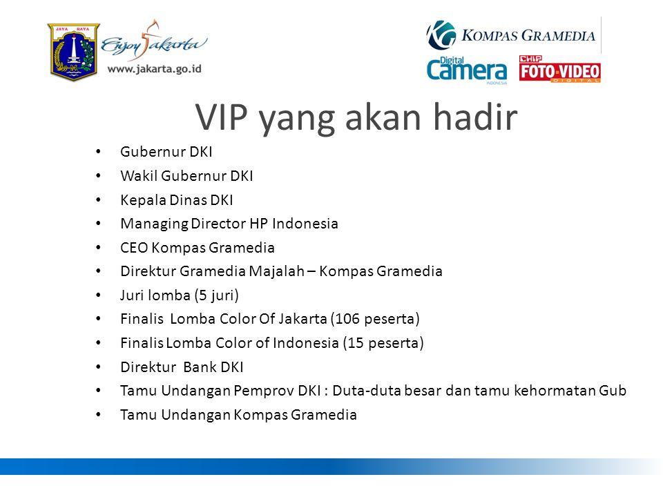 VIP yang akan hadir • Gubernur DKI • Wakil Gubernur DKI • Kepala Dinas DKI • Managing Director HP Indonesia • CEO Kompas Gramedia • Direktur Gramedia