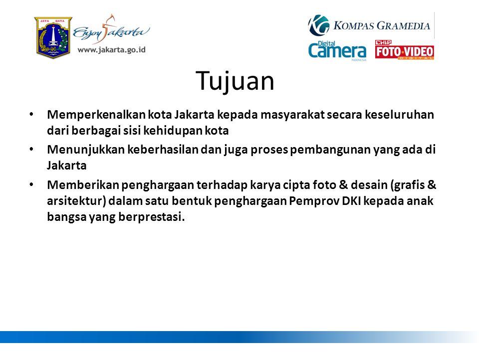Tujuan • Memperkenalkan kota Jakarta kepada masyarakat secara keseluruhan dari berbagai sisi kehidupan kota • Menunjukkan keberhasilan dan juga proses