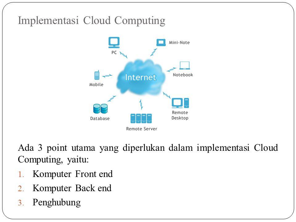 Implementasi Cloud Computing Ada 3 point utama yang diperlukan dalam implementasi Cloud Computing, yaitu: 1. Komputer Front end 2. Komputer Back end 3