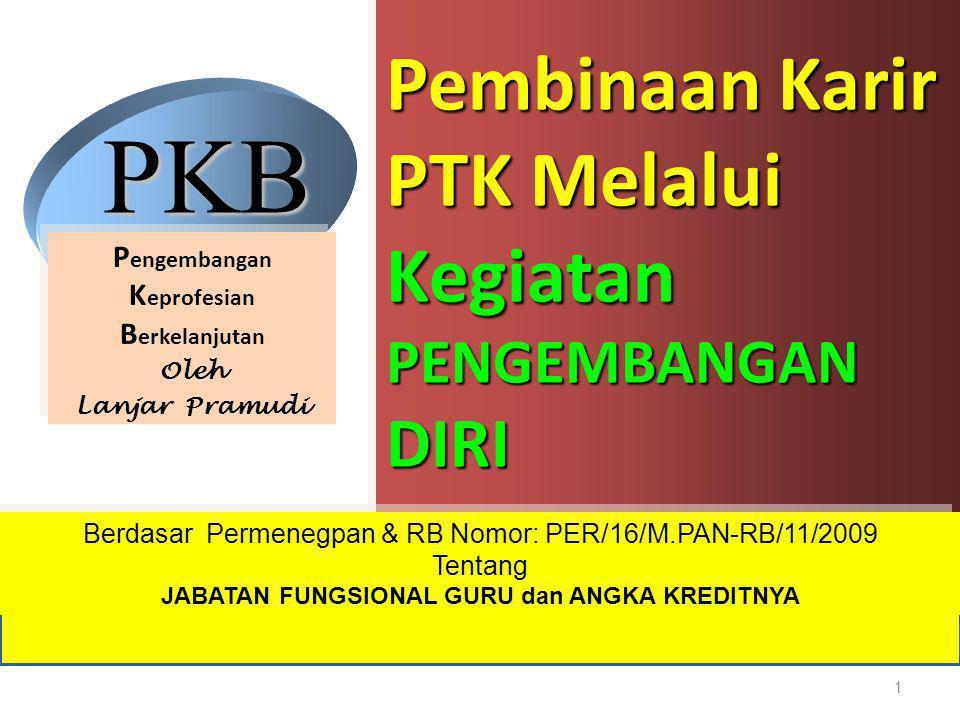 Pembinaan Karir PTK Melalui Kegiatan PENGEMBANGAN DIRI Berdasar Permenegpan & RB Nomor: PER/16/M.PAN-RB/11/2009 Tentang JABATAN FUNGSIONAL GURU dan AN