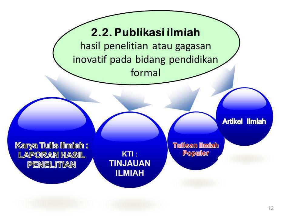 12 2.2. Publikasi ilmiah hasil penelitian atau gagasan inovatif pada bidang pendidikan formal