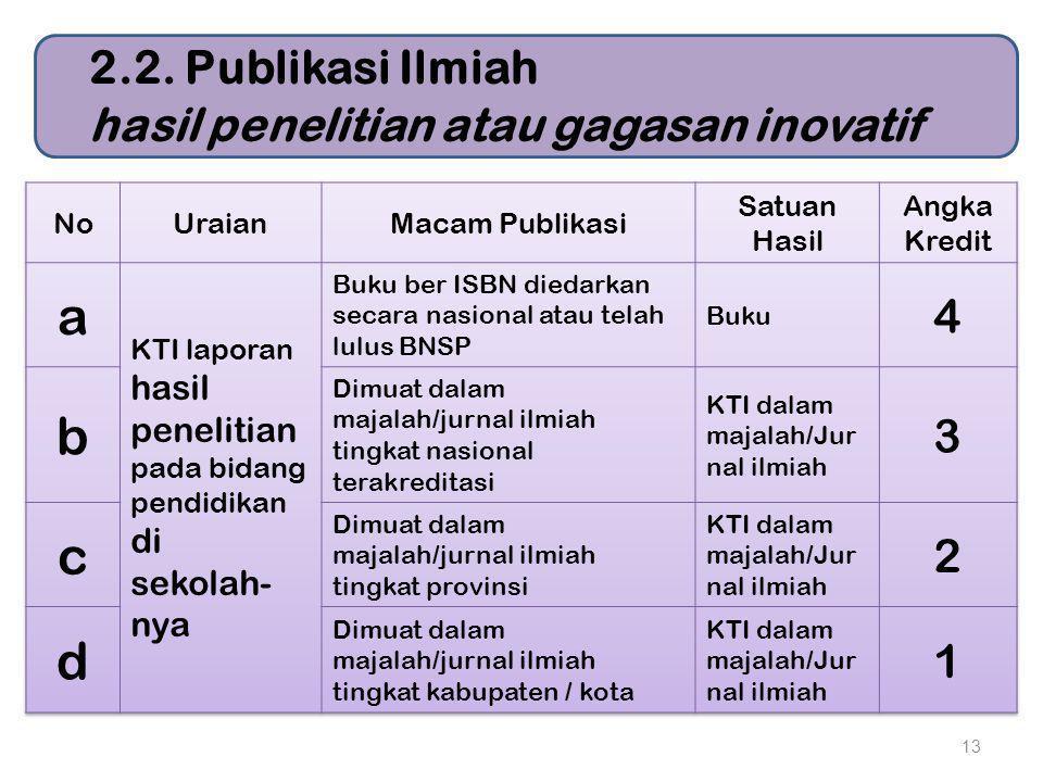 13 2.2. Publikasi Ilmiah hasil penelitian atau gagasan inovatif