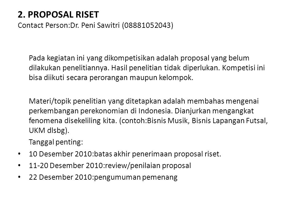 3.MINI RISET Contact Person:Dr.