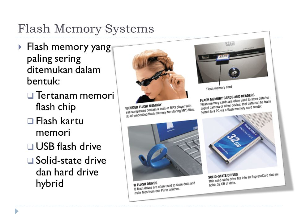 Flash Memory Systems  Flash memory yang paling sering ditemukan dalam bentuk:  Tertanam memori flash chip  Flash kartu memori  USB flash drive  Solid-state drive dan hard drive hybrid