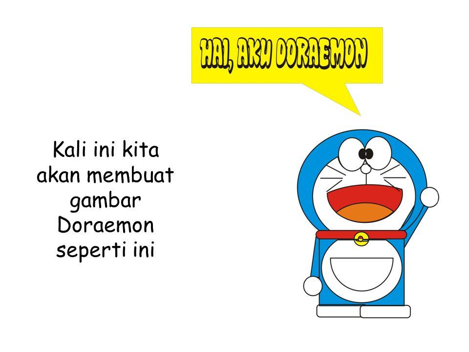 Kali ini kita akan membuat gambar Doraemon seperti ini