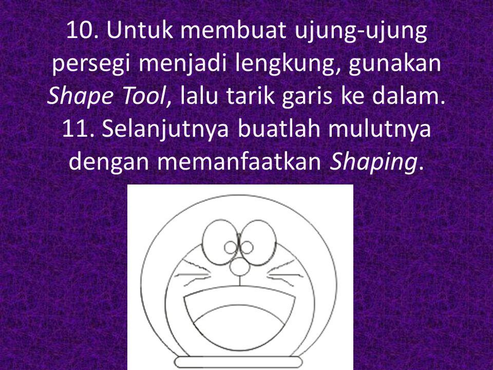 12.Untuk membuat kumisnya, gunakan Smart Drawing Tool.