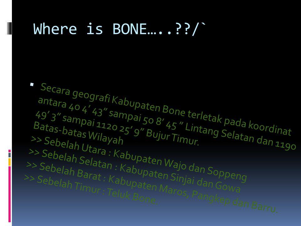 """Where is BONE…..??/`  Secara geografi Kabupaten Bone terletak pada koordinat antara 4o 4' 43"""" sampai 5o 8' 45 """" Lintang Selatan dan 119o 49' 3"""" sampa"""