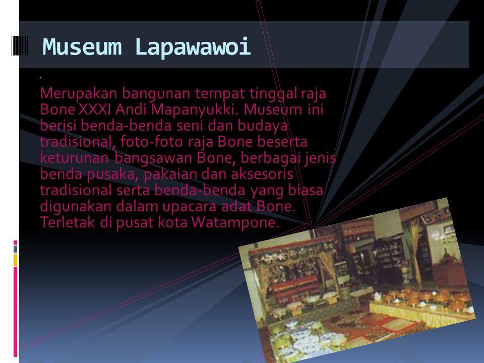 . Merupakan bangunan tempat tinggal raja Bone XXXI Andi Mapanyukki. Museum ini berisi benda-benda seni dan budaya tradisional, foto-foto raja Bone bes