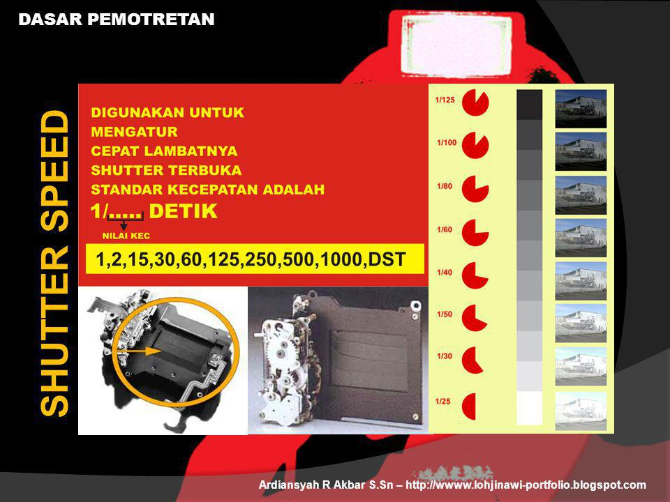 DASAR PEMOTRETAN Ardiansyah R Akbar S.Sn – http://wwww.lohjinawi-portfolio.blogspot.com SHUTTER SPEED