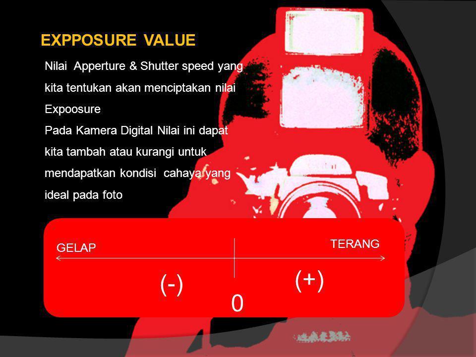 EXPPOSURE VALUE Nilai Apperture & Shutter speed yang kita tentukan akan menciptakan nilai Expoosure Pada Kamera Digital Nilai ini dapat kita tambah at