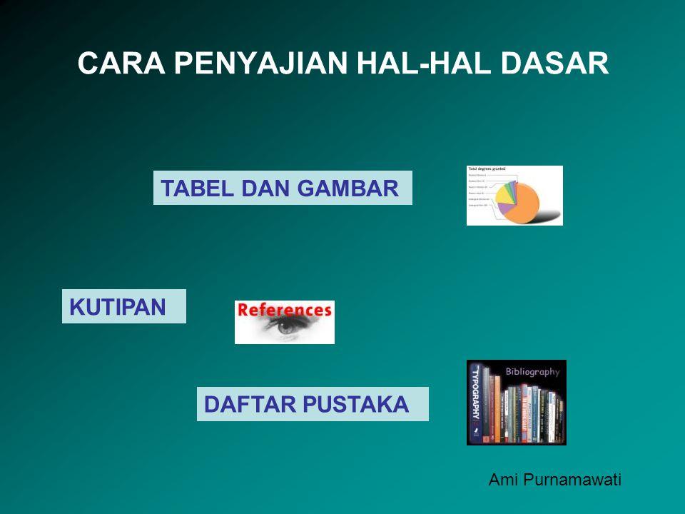 CARA PENYAJIAN HAL-HAL DASAR TABEL DAN GAMBAR KUTIPAN DAFTAR PUSTAKA Ami Purnamawati