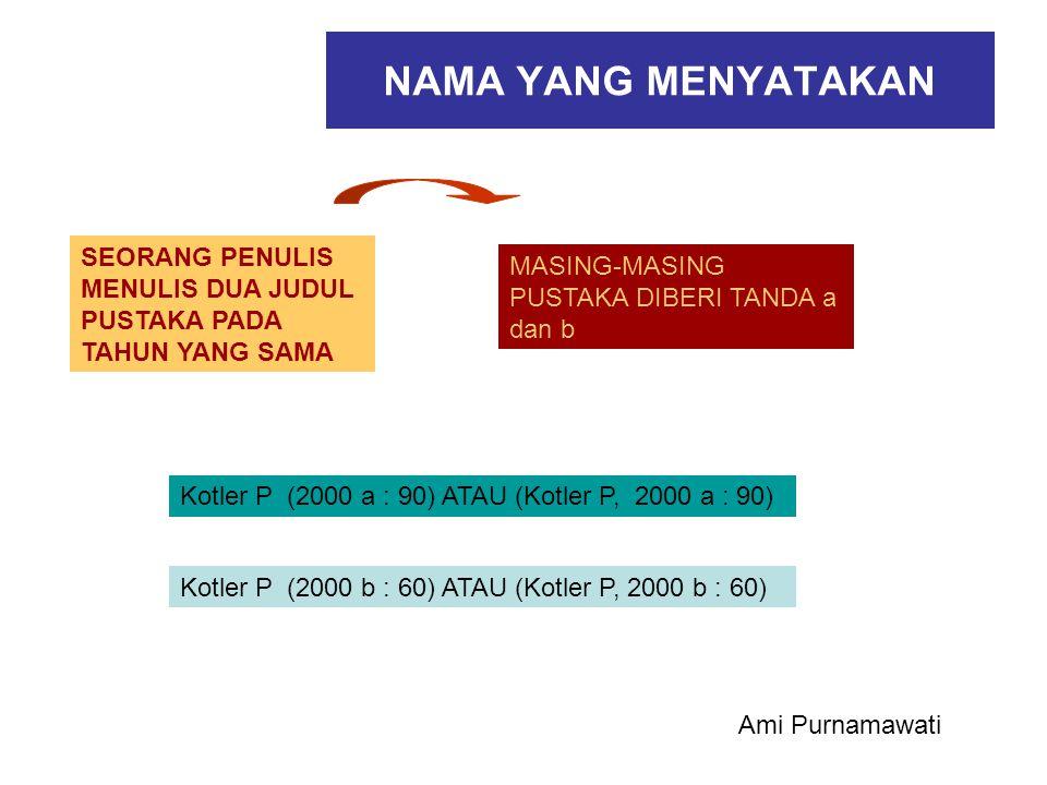 NAMA YANG MENYATAKAN SEORANG PENULIS MENULIS DUA JUDUL PUSTAKA PADA TAHUN YANG SAMA MASING-MASING PUSTAKA DIBERI TANDA a dan b Kotler P (2000 a : 90)