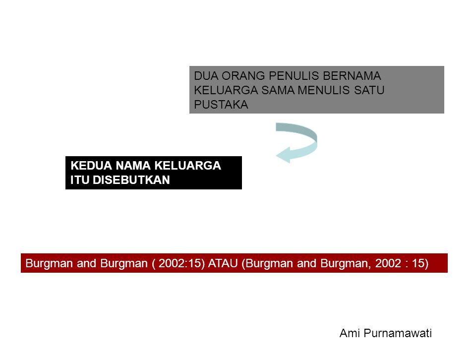 DUA ORANG PENULIS BERNAMA KELUARGA SAMA MENULIS SATU PUSTAKA KEDUA NAMA KELUARGA ITU DISEBUTKAN Burgman and Burgman ( 2002:15) ATAU (Burgman and Burgm