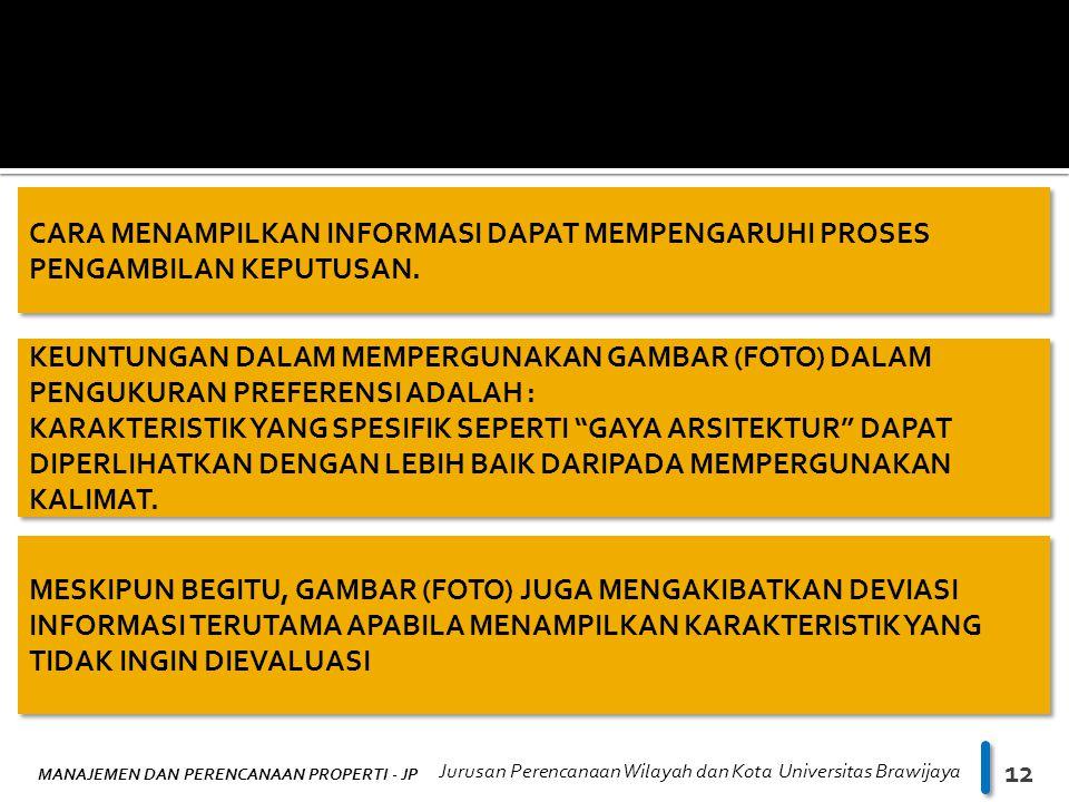 MANAJEMEN DAN PERENCANAAN PROPERTI - JP Jurusan Perencanaan Wilayah dan Kota Universitas Brawijaya 12 CARA MENAMPILKAN INFORMASI DAPAT MEMPENGARUHI PROSES PENGAMBILAN KEPUTUSAN.