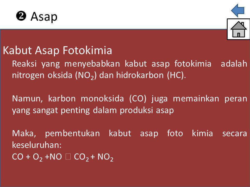 Kabut Asap Fotokimia Reaksi yang menyebabkan kabut asap fotokimia adalah nitrogen oksida (NO 2 ) dan hidrokarbon (HC). Namun, karbon monoksida (CO) ju