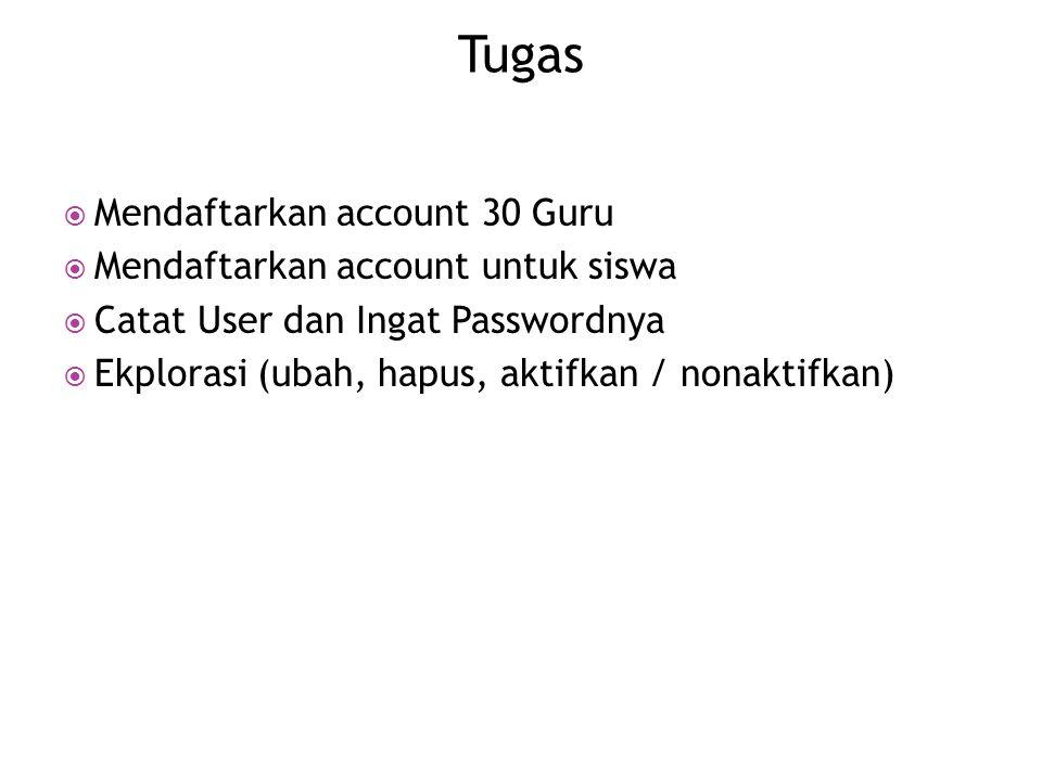  Mendaftarkan account 30 Guru  Mendaftarkan account untuk siswa  Catat User dan Ingat Passwordnya  Ekplorasi (ubah, hapus, aktifkan / nonaktifkan) Tugas