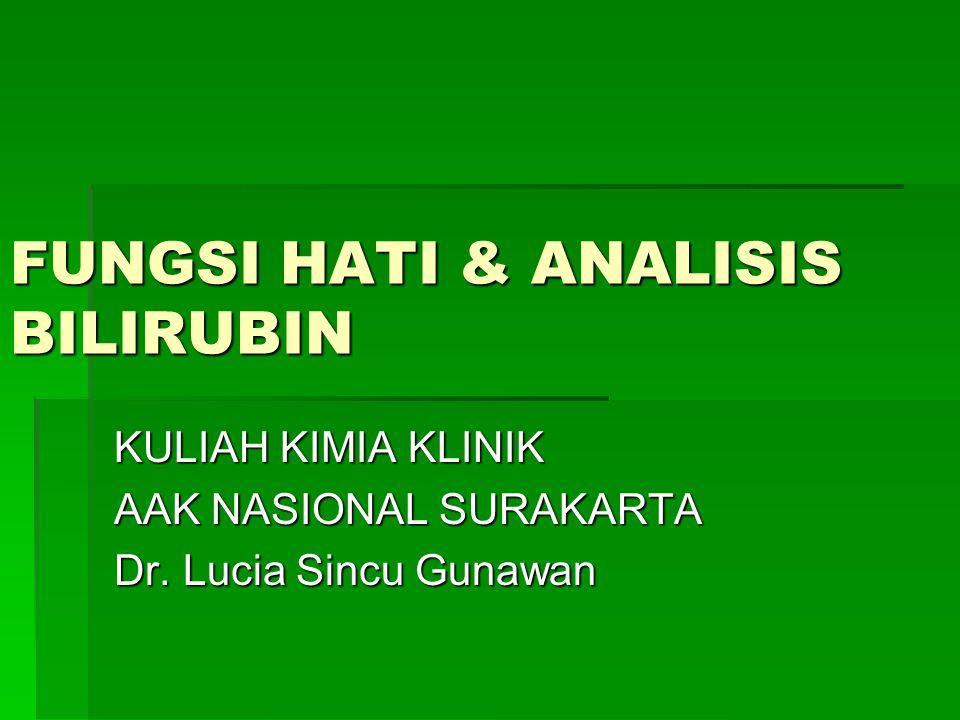 FUNGSI HATI & ANALISIS BILIRUBIN KULIAH KIMIA KLINIK AAK NASIONAL SURAKARTA Dr. Lucia Sincu Gunawan