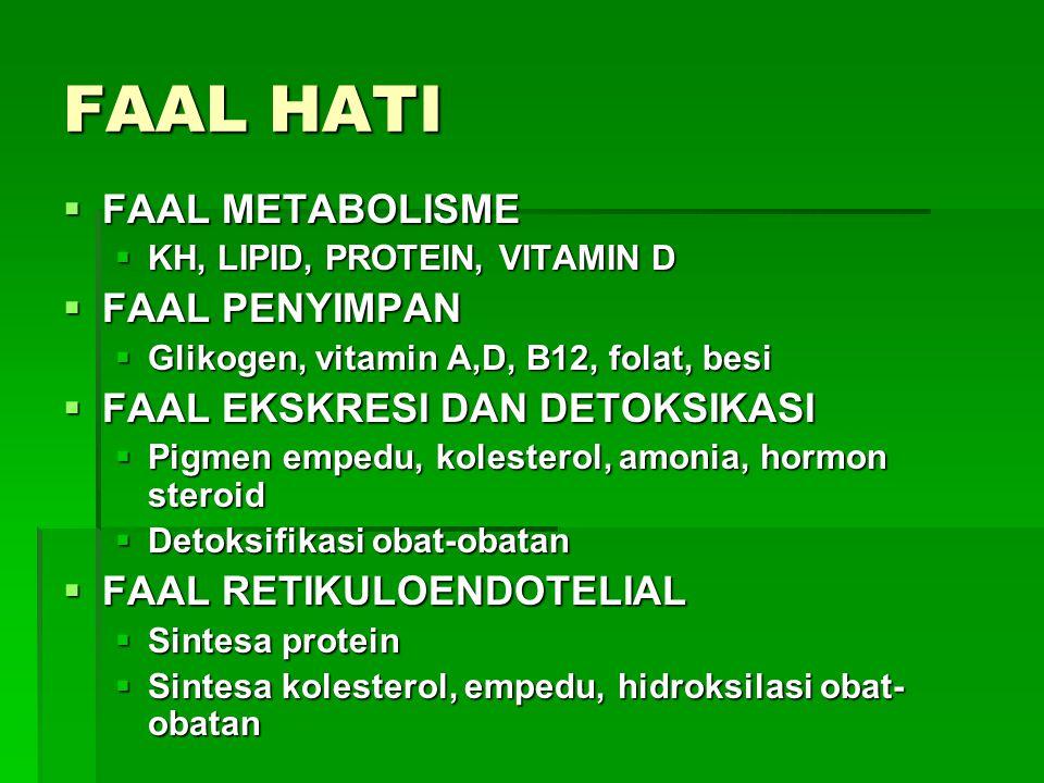 FAAL HATI  FAAL METABOLISME  KH, LIPID, PROTEIN, VITAMIN D  FAAL PENYIMPAN  Glikogen, vitamin A,D, B12, folat, besi  FAAL EKSKRESI DAN DETOKSIKAS
