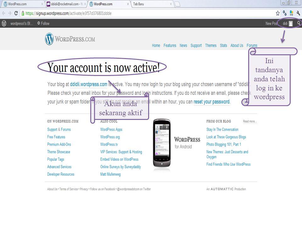 Klik Activate Blog