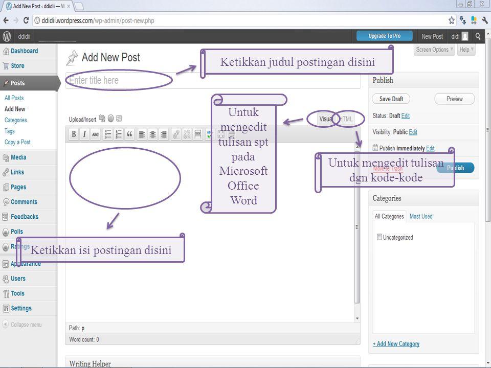 Arahkan kursor ke Posts Lalu klik Add New Cara Membuat Postingan Baru