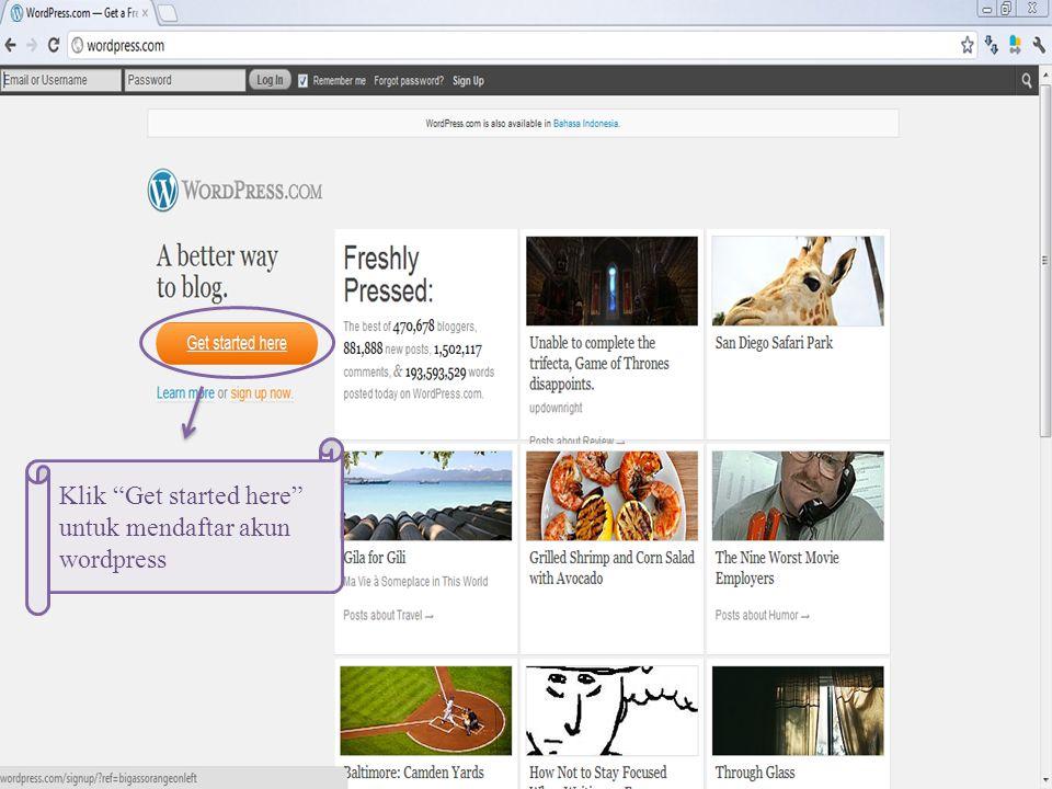 Klik Get started here untuk mendaftar akun wordpress