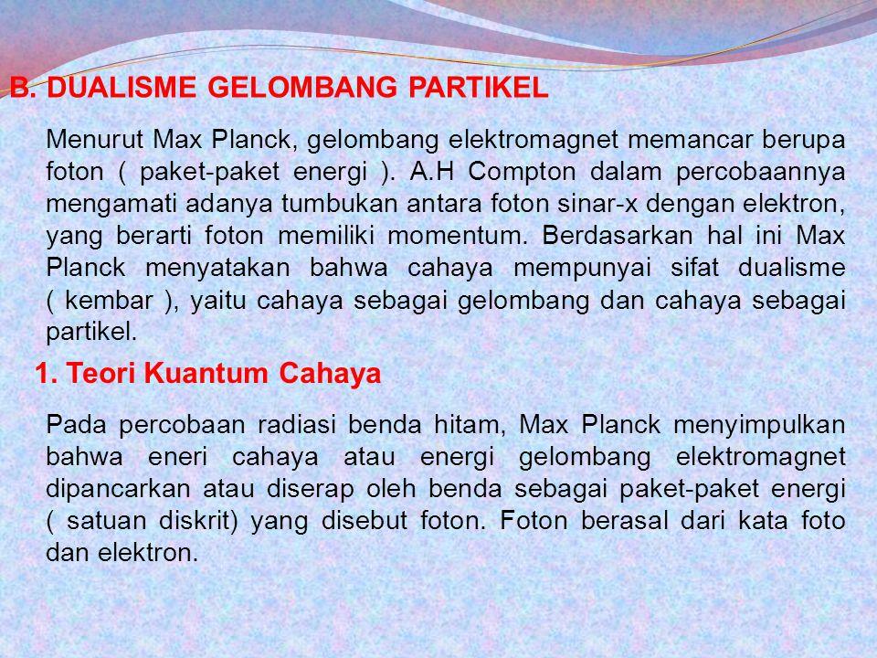 B. DUALISME GELOMBANG PARTIKEL Menurut Max Planck, gelombang elektromagnet memancar berupa foton ( paket-paket energi ). A.H Compton dalam percobaanny