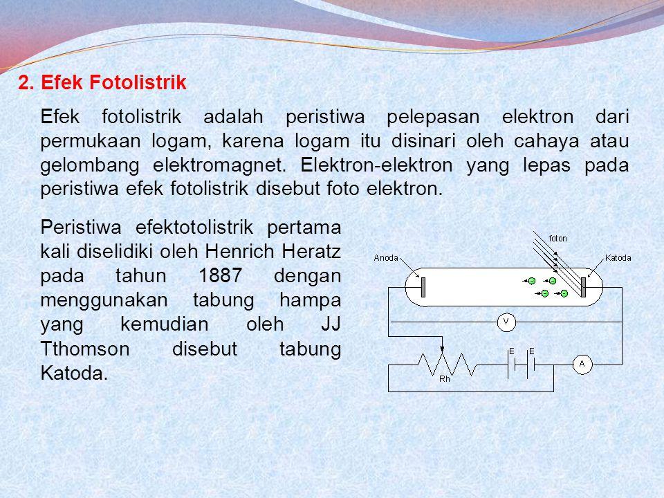 2. Efek Fotolistrik Efek fotolistrik adalah peristiwa pelepasan elektron dari permukaan logam, karena logam itu disinari oleh cahaya atau gelombang el