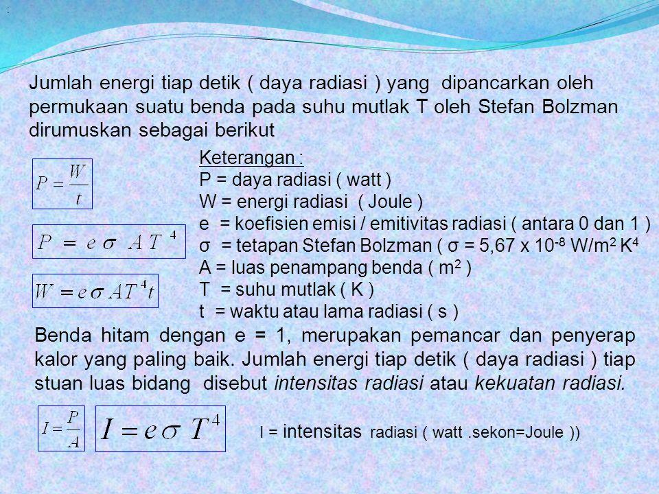 : Jumlah energi tiap detik ( daya radiasi ) yang dipancarkan oleh permukaan suatu benda pada suhu mutlak T oleh Stefan Bolzman dirumuskan sebagai beri