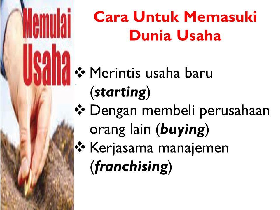 MERINTIS USAHA BARU (STARTING) Bentuk usaha baru yang dapat dirintis yaitu: 1.Perusahaan milik sendiri (sole proprietorship), bentuk usaha yang dimiliki dan dikelola sendiri oleh seseorang.