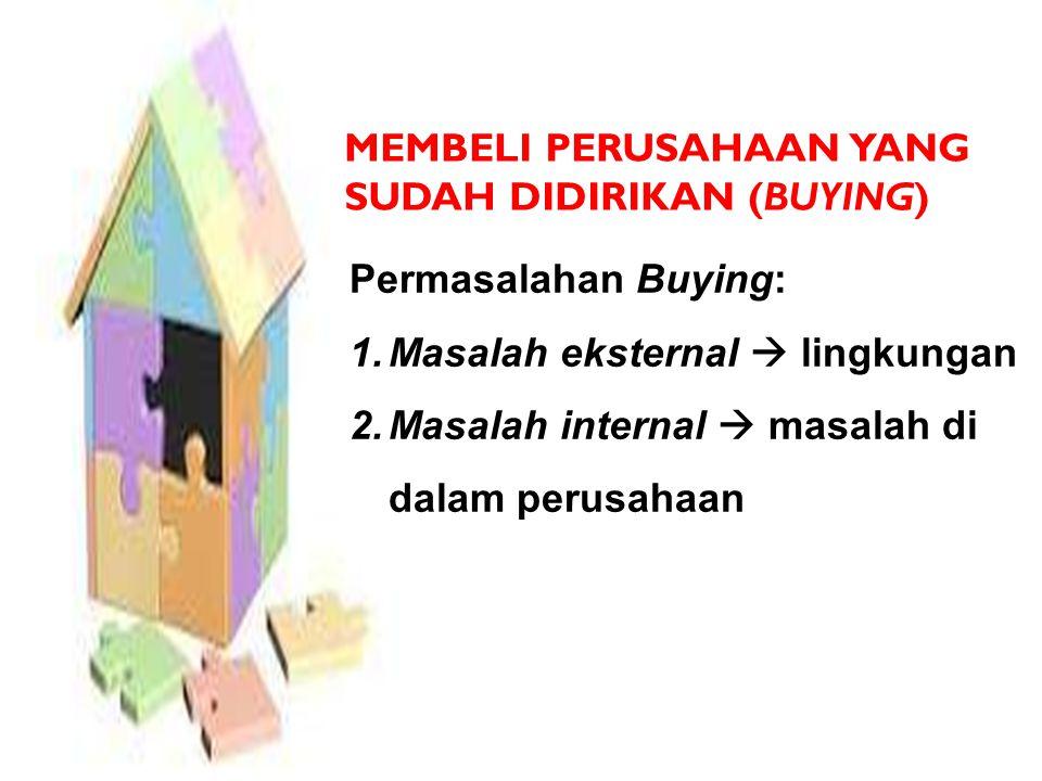 MEMBELI PERUSAHAAN YANG SUDAH DIDIRIKAN (BUYING) Permasalahan Buying: 1.Masalah eksternal  lingkungan 2.Masalah internal  masalah di dalam perusahaan