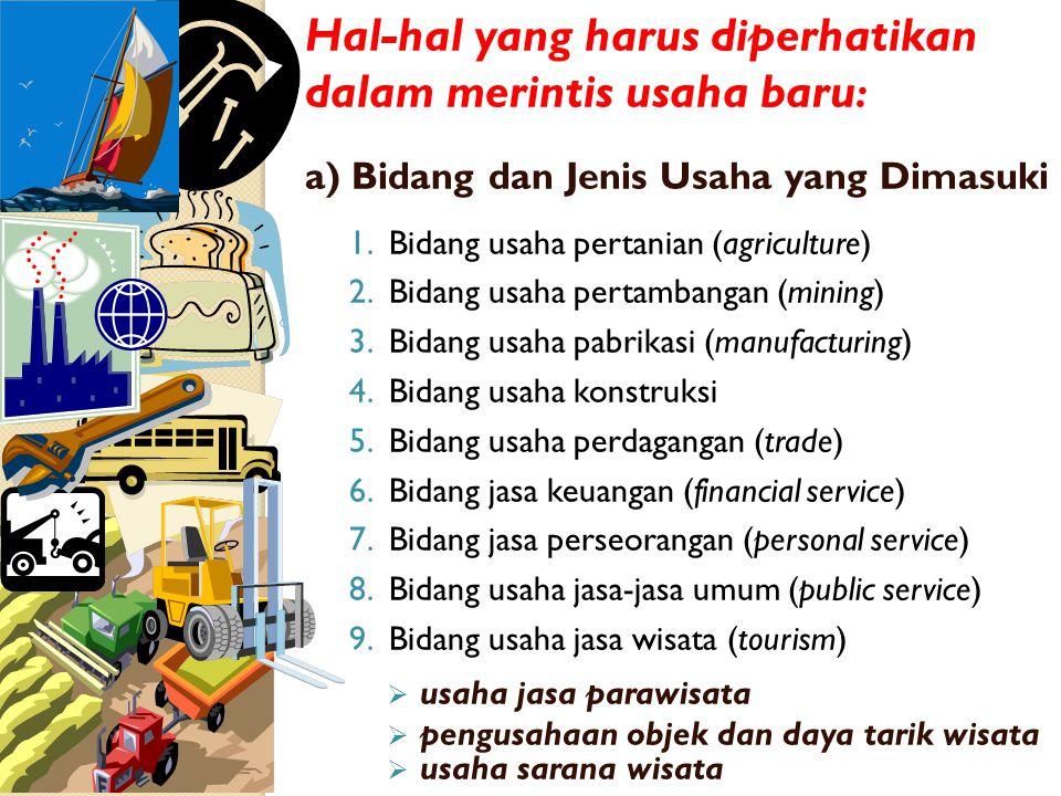 Hal-hal yang harus diperhatikan dalam merintis usaha baru : a) Bidang dan Jenis Usaha yang Dimasuki 1.Bidang usaha pertanian (agriculture) 2.Bidang usaha pertambangan (mining) 3.Bidang usaha pabrikasi (manufacturing) 4.Bidang usaha konstruksi 5.Bidang usaha perdagangan (trade) 6.Bidang jasa keuangan (financial service) 7.Bidang jasa perseorangan (personal service) 8.Bidang usaha jasa-jasa umum (public service) 9.Bidang usaha jasa wisata (tourism)  usaha jasa parawisata  pengusahaan objek dan daya tarik wisata  usaha sarana wisata
