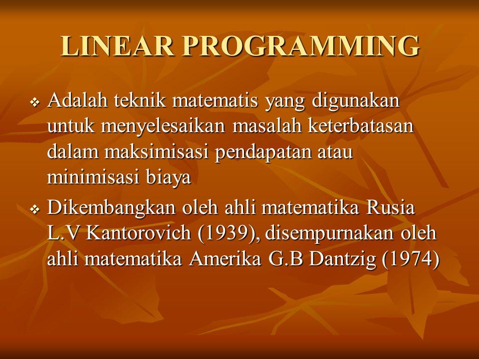 LINEAR PROGRAMMING  Adalah teknik matematis yang digunakan untuk menyelesaikan masalah keterbatasan dalam maksimisasi pendapatan atau minimisasi biaya  Dikembangkan oleh ahli matematika Rusia L.V Kantorovich (1939), disempurnakan oleh ahli matematika Amerika G.B Dantzig (1974)