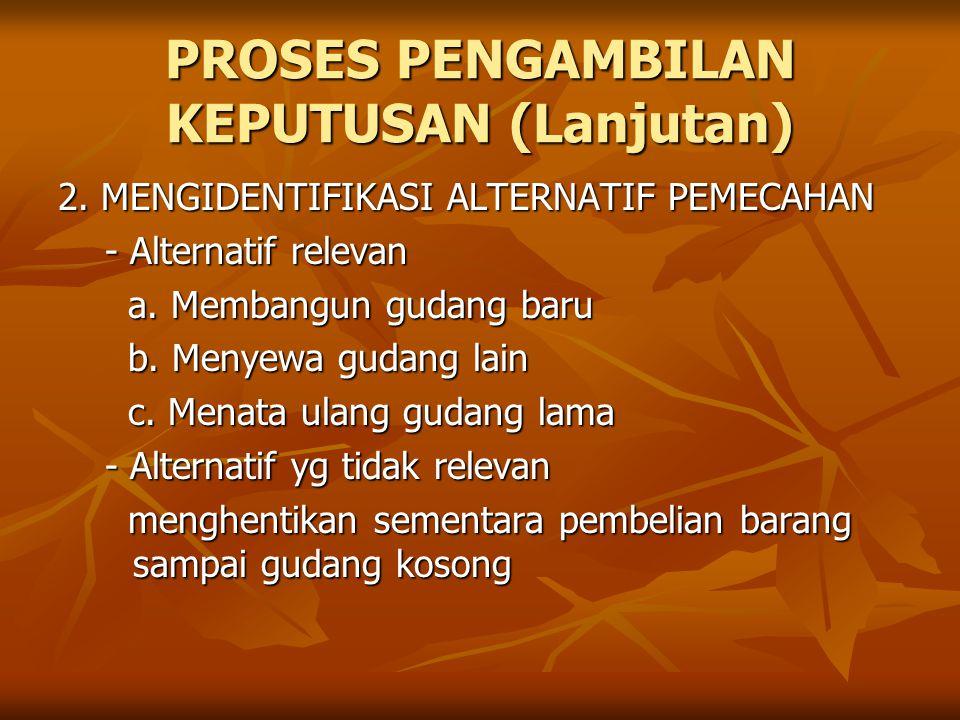 PROSES PENGAMBILAN KEPUTUSAN (Lanjutan) 2.