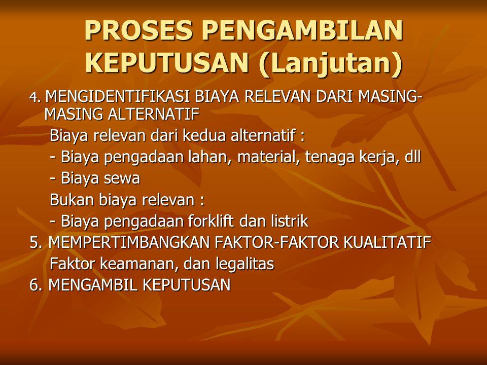 PROSES PENGAMBILAN KEPUTUSAN (Lanjutan) 4.