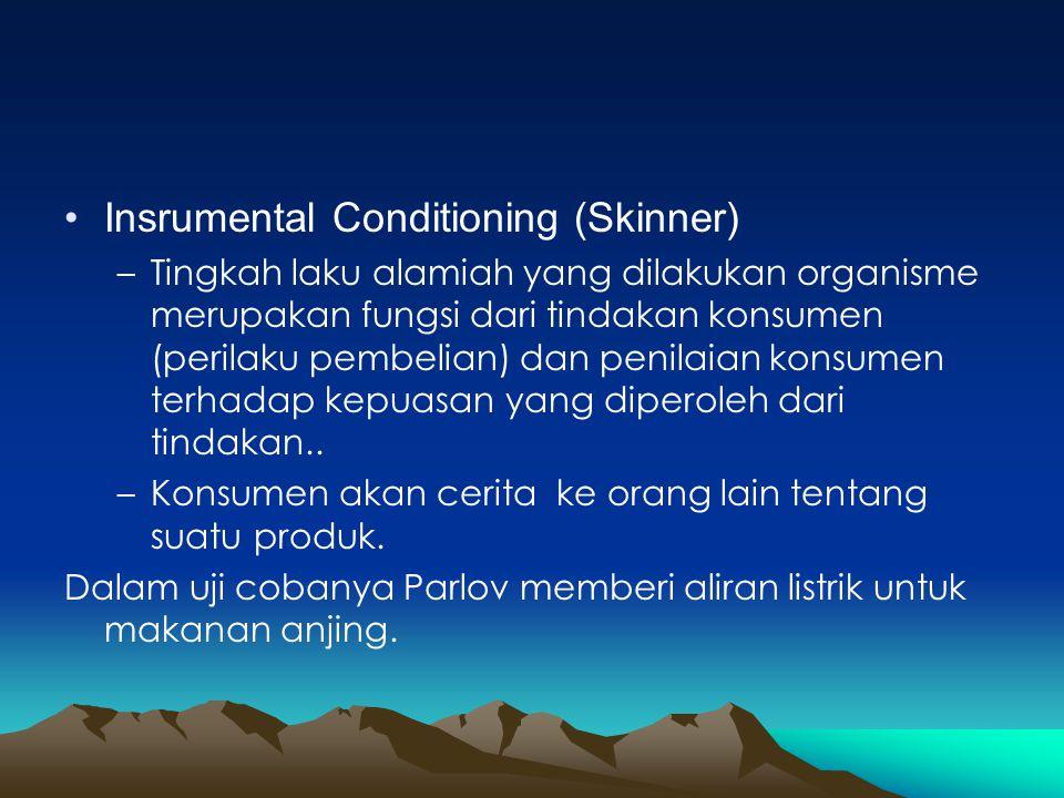 •Insrumental Conditioning (Skinner) –Tingkah laku alamiah yang dilakukan organisme merupakan fungsi dari tindakan konsumen (perilaku pembelian) dan pe