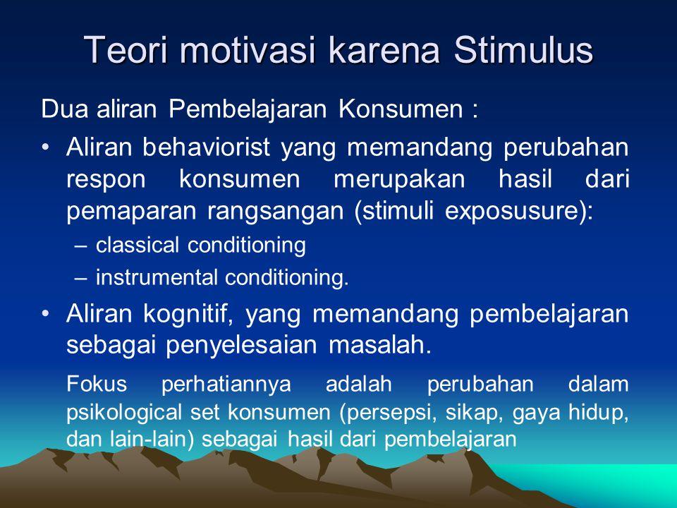 Teori motivasi karena Stimulus Dua aliran Pembelajaran Konsumen : •Aliran behaviorist yang memandang perubahan respon konsumen merupakan hasil dari pe