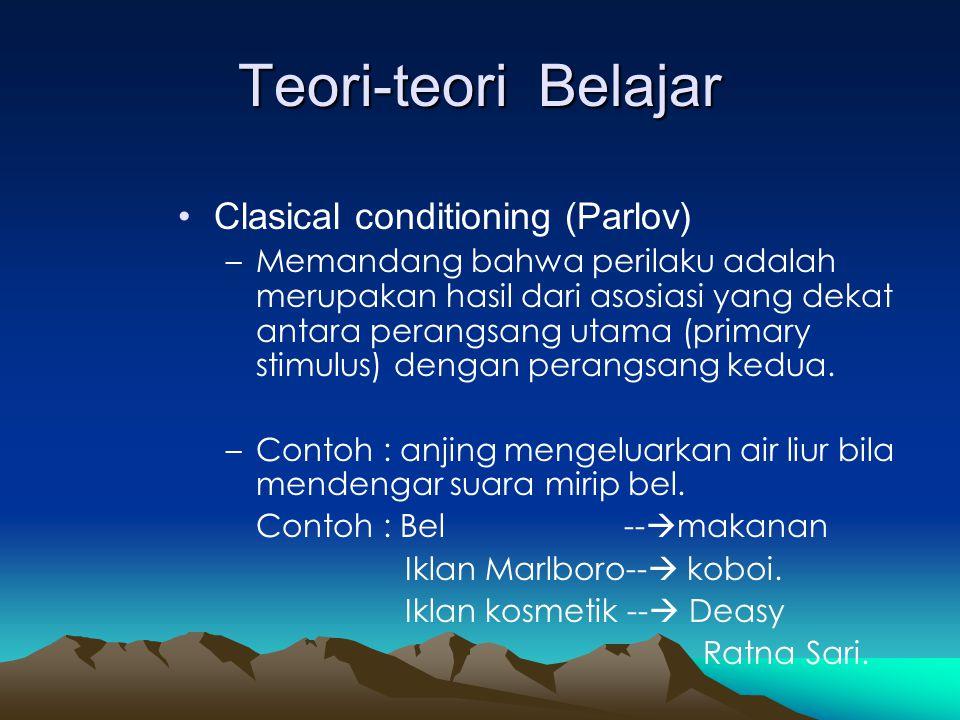 Syarat Clasical Conditioning •Tidak ada stimuli yang membayangi primary stimuli (Unconditioned Stimuli).