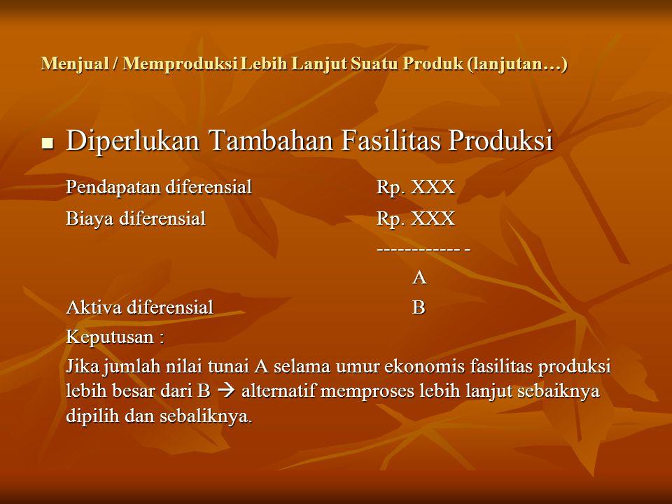 Menjual / Memproduksi Lebih Lanjut Suatu Produk (lanjutan…)  Diperlukan Tambahan Fasilitas Produksi Pendapatan diferensialRp.
