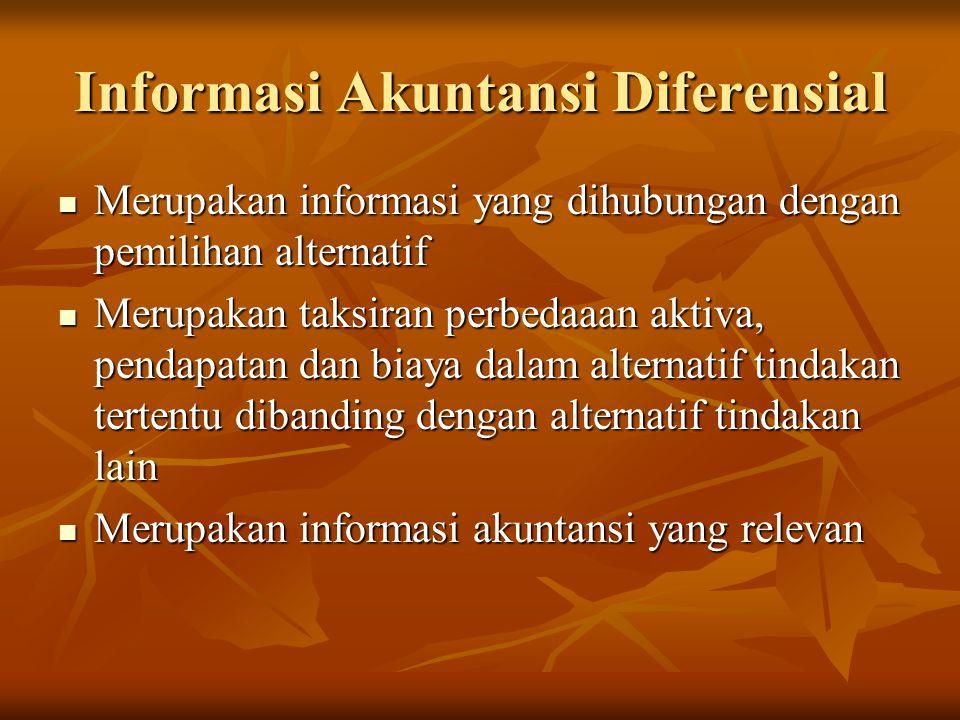 Informasi Akuntansi Diferensial  Merupakan informasi yang dihubungan dengan pemilihan alternatif  Merupakan taksiran perbedaaan aktiva, pendapatan dan biaya dalam alternatif tindakan tertentu dibanding dengan alternatif tindakan lain  Merupakan informasi akuntansi yang relevan