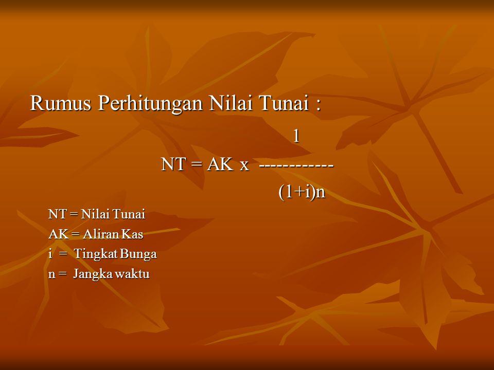 Rumus Perhitungan Nilai Tunai : 1 NT = AK x ------------ (1+i)n (1+i)n NT = Nilai Tunai AK = Aliran Kas i = Tingkat Bunga n = Jangka waktu