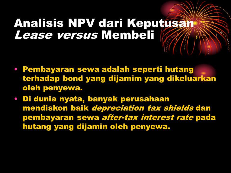 Analisis NPV dari Keputusan Lease versus Membeli •Pembayaran sewa adalah seperti hutang terhadap bond yang dijamim yang dikeluarkan oleh penyewa. •Di