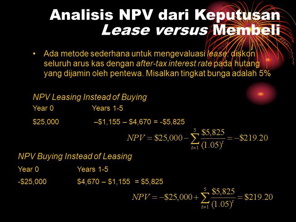 Analisis NPV dari Keputusan Lease versus Membeli •Ada metode sederhana untuk mengevaluasi lease: diskon seluruh arus kas dengan after-tax interest rat