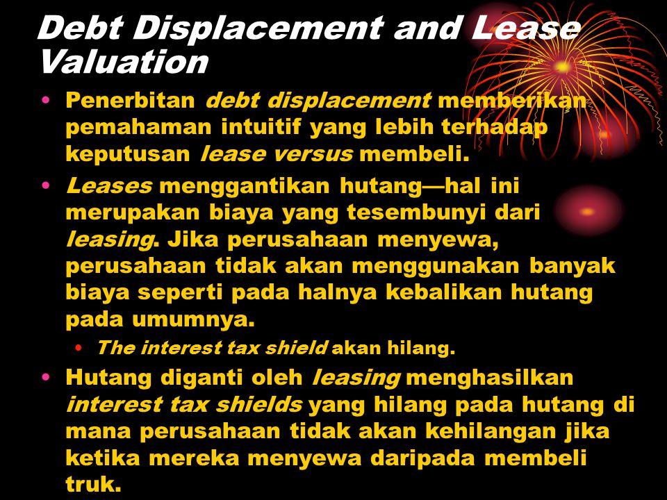 Debt Displacement and Lease Valuation •Penerbitan debt displacement memberikan pemahaman intuitif yang lebih terhadap keputusan lease versus membeli.