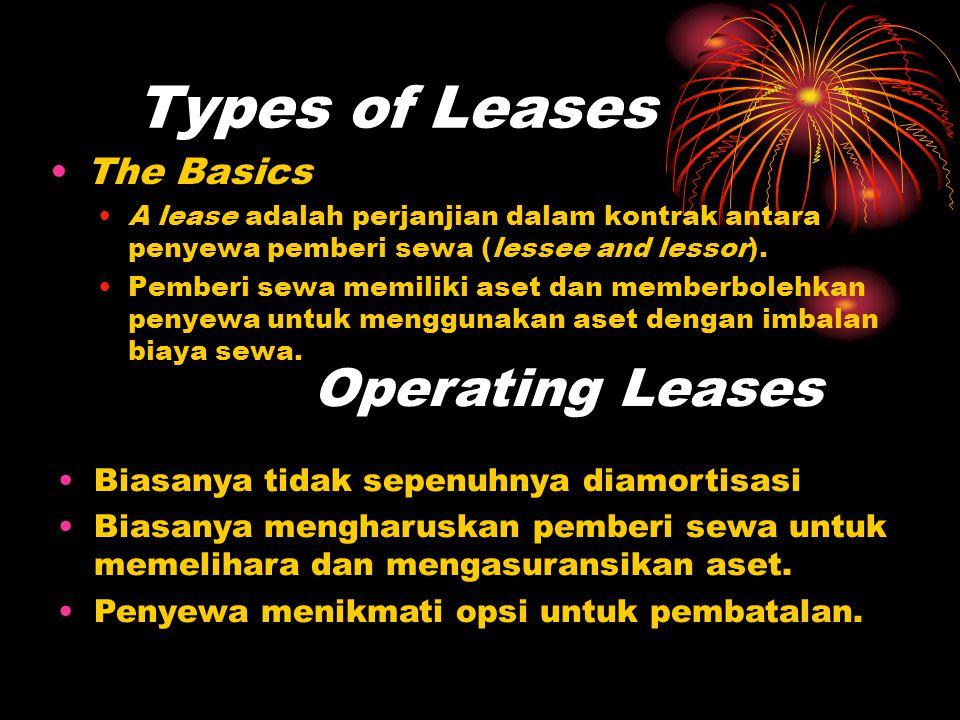 Types of Leases •The Basics •A lease adalah perjanjian dalam kontrak antara penyewa pemberi sewa (lessee and lessor). •Pemberi sewa memiliki aset dan