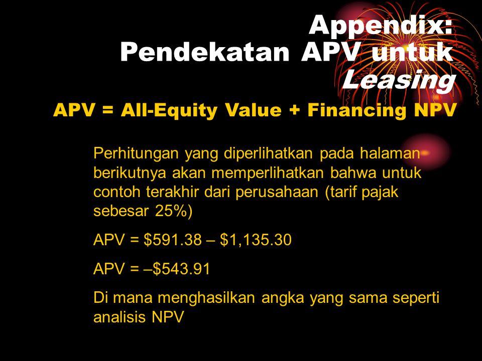 Appendix: Pendekatan APV untuk Leasing APV = All-Equity Value + Financing NPV •Untuk mencari nilai all-equity, diskon arus kas dengan pre-tax interest rate.