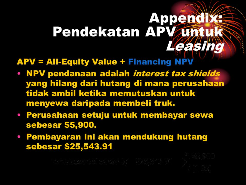 Appendix: Pendekatan APV untuk Leasing APV = All-Equity Value + Financing NPV •NPV pendanaan adalah interest tax shields yang hilang dari hutang di ma