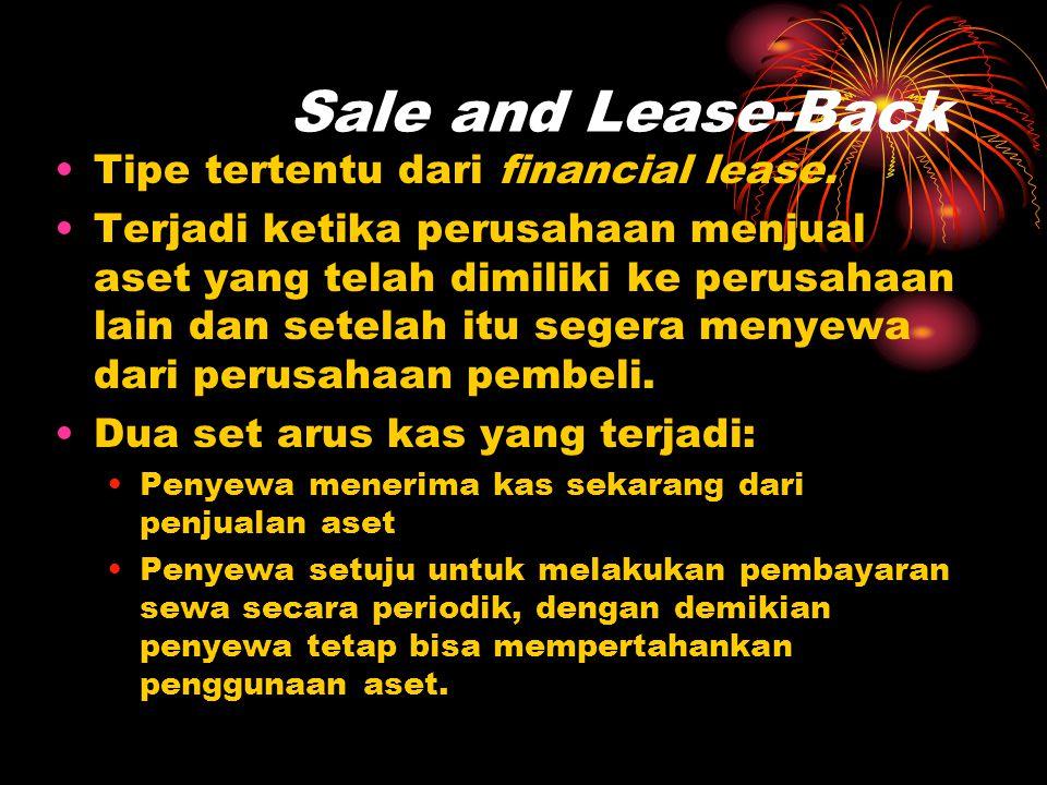 Sale and Lease-Back •Tipe tertentu dari financial lease. •Terjadi ketika perusahaan menjual aset yang telah dimiliki ke perusahaan lain dan setelah it